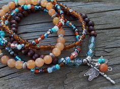 Dragonfly Charm, Wood and Gemstone Beaded Stretch Bracelet Stack - Journey to a New Life by Angelof2, $26.00