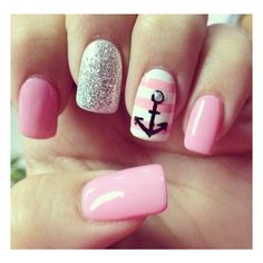 Anchor nails. Nails! ❤ liked on Polyvore featuring beauty products, nail care, nail treatments, nails, makeup and unhas