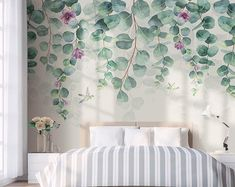 Watercolor Dark Green Vine Leaf Wallpaper Wall Mural, Spring Green Vine with Small Flowers Wall Mural, Simple Leaves Wall Mural Wall Decor Wallpaper Wall, Leaves Wallpaper, Colorful Wallpaper, Vine Leaves, Green Leaves, Open Wall, Cleaning Walls, Decoration Design, Make Design
