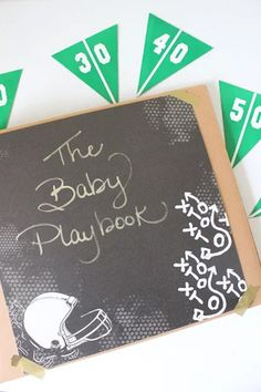 Make You Own DIY Baby Playbook For A Football Themed Baby Shower! //