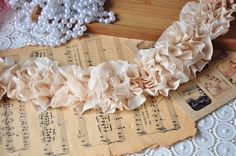 Nude Pink Pleated Lace Trim, Wedding Bouquet, Chiffon Lace Trim, Bridal headware by lacetime on Etsy https://www.etsy.com/listing/89106186/nude-pink-pleated-lace-trim-wedding