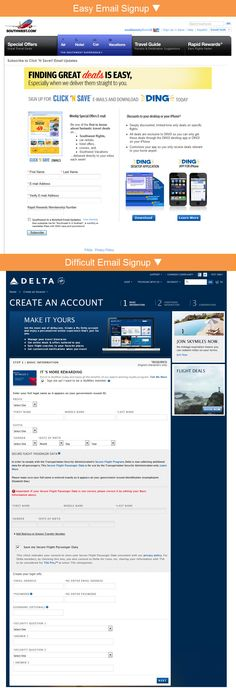 """Southwest Airlines eases into the email relationship, asking for relatively little information. On the other hand, Delta Air Lines requires consumers to register with their site in order to receive emails. The """"Basic Information"""" portion of their registration form alone has 25 fields and includes TSA warnings that get people thinking about airport hassles instead of saving on a fun getaway."""