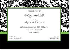 Black Toile with Green Accent Invitation #formal #holiday #party #invitation #damask