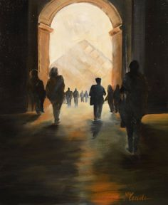 Paris le Louvre By Marièle Gissinger oil on canvas available for purchase on www.passionartly.com By buying this artwork you are doing a good deed, we pledge to donate 5% to the association :French Esophageal Atresia Association (AFAO) - French Charity for Children