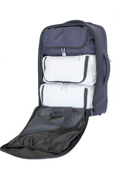 We fill half the bag with supplies leaving you room for your stuff. The blue module converts to a messenger bag.