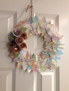 Map Leaf Wreath with Paper Roses