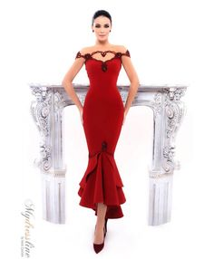 Tarik Ediz 93324 Salvia evening Crepe Dress.