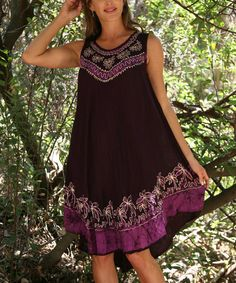 Look at this #zulilyfind! Purple Palm Sleeveless Swing Dress by Ananda's Collection #zulilyfinds