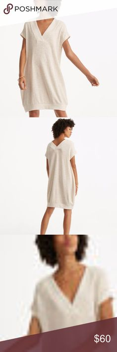 """NWT Lou and Grey Loft Double V Dress PRODUCT DETAILS  In super soft cotton terry, a double V neckline and cocoon silhouette up the cool attitude. V neck. Short dolman sleeves V back. Ribbed elasticized neckline and hi-lo hem. 17 1/2"""" from natural waist. A LOFT retail store product, not outlet. Retail price $69.50. Color: FLAX  FABRIC AND CARE  70% Cotton, 26% Polyester, 4% Spandex Machine Washable Imported LOFT Dresses"""