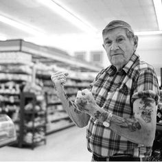 """This picture shall forever be the answer to people who say """"But think about what your tattoos will look like in sixty years!""""      ha love it. exactly."""