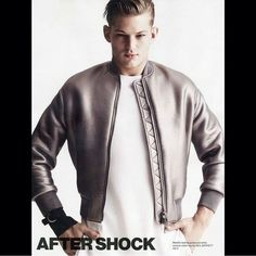 """Sebastian Sauve: """" @nielbarrett as seen in @rollacoastermagazine / SS15 by @nick_haddow and @andrewdav1s Metallic Bomber #rollacoastermagazine #ss15 #neilbarrett """" - Photo by Nick Haddow for the Spring Summer 2015 Issue of Rollacoaster Magazine - February 5, 2015"""