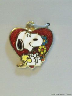 Vintage enamel SNOOPY charm SNOOPY is sleeping on a HEART WITH LOVE