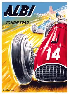 Albi 1952 Vintage Auto Racing Poster beautiful giclee reproduction print on fine paper that will not fade. Available in different sizes, unframed or framed in black matte wood frame. Custom sizes available. Made in USA by Museum Outlets Australian Grand Prix, British Grand Prix, Vintage Racing, Vintage Cars, Vintage Auto, Racing Wallpaper, Automobile, Ferrari Racing, Cool Stuff