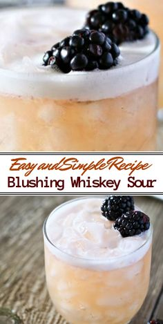 Blushing Whiskey Sour is the perfect cocktail recipe for St Patricks Day, Easter, spring or anytime you'd love a delicious whiskey drink. Great for blackberry lovers - delish. Strawberry Banana Milkshake, Vanilla Milkshake, Whiskey Sour, Whiskey Cocktails, Whiskey Cake, Rhubarb And Ginger Gin, Whiskey Quotes, Whiskey Gifts, Whiskey Glasses