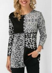 Printed Button Detail Round Neck Blouse | Rosewe.com - USD $30.03