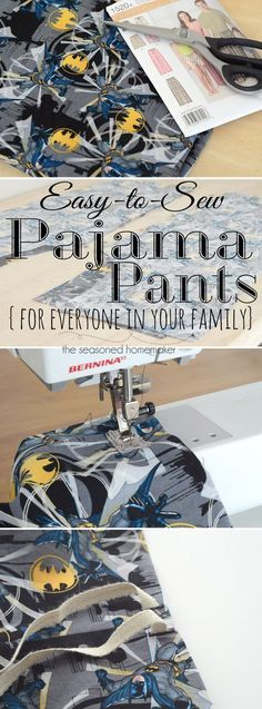 Sewing For Beginners Learn to sew Pajama Pants - like the buttonhole for pulling twill through - Learn How to Sew Pajama Pants Tutorial for Beginners. I've taken a Simplicity sewing pattern and better explained the steps, including photos. Easy Sewing Projects, Sewing Projects For Beginners, Sewing Hacks, Sewing Tutorials, Sewing Tips, Sewing Basics, Sewing Crafts, Fabric Crafts, Basic Sewing