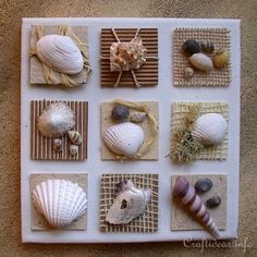Summer Seashells Craft - Canvas With Seashell Inchies VERY CUTE craft idea for my beach bathroom theme. Especially since I have a TON of sea shells I've collected since I was a wee lad! If you love arts and crafts a person will appreciate this website! Sea Crafts, Nature Crafts, Cute Crafts, Diy And Crafts, Arts And Crafts, Food Crafts, Seashell Art, Seashell Crafts, Crafts With Seashells