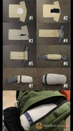 a clever tight way to pack a t-shirt undies and socks in the most useful order you'll ever need them.