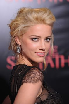 Red carpet hairstyle. Messy updo like Amber Heard. Celebrity hairstyle