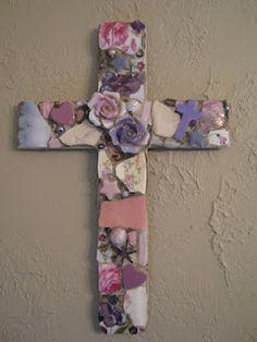 Mosaic cross with ceramic roses, mosaic art.