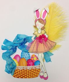 Bunny's Basket Easter doll created with Prima doll stamp for Treasured Memories, Lafayette, La
