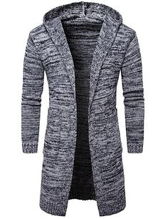 Men's Daily Casual Regular Cardigan,Solid Hooded Long Sleeves Cotton Polyester Spring Fall Thick Micro-elastic