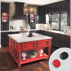 Black cabinets effectively fade into the background to show off the red island at center, while a light backsplash and countertops keep the painted pieces from feeling heavy. For a similar look, try: Red Gumball (red) and Phantom Mist (black), Olympic New Kitchen Cabinets, Kitchen Cabinet Colors, Painting Kitchen Cabinets, Kitchen Redo, Kitchen And Bath, Kitchen Remodel, Kitchen Paint, Red Kitchen Decor, Kitchen Colors