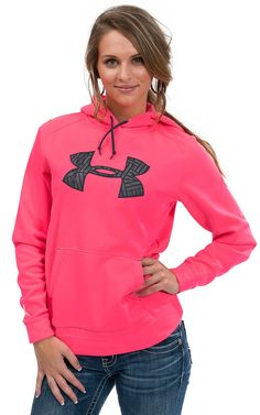 Under Armour® Women's Neon Pink with Grey Logo Tackle Twill Hoodie