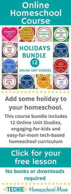 Add more holiday to your homeschool with a bundle of 12 Online Unit Studies. These online homeschool course integrates multiple subjects for multiple ages of students. Access websites and videos and complete digital projects. With Online Unit Studies eas New Years Traditions, Importance Of Time Management, School Schedule, Online Lessons, Homeschool Curriculum, Online Homeschooling, In Kindergarten, Unit Studies, Encouragement