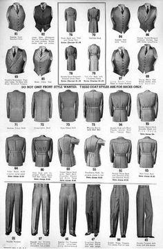 Bi-swing half-belted suit jackets 40s 50s mens wear vest pants jacket coat chart print ad catalogue