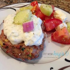 Tasty Greek Turkey Burgers | 21 Day Fix & 21 Day Fix Extreme Approved | www.fitmomangelad.com | Clean Eating | Grill Food