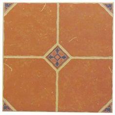 Terra Cotta 16 in. x 16 in. Ceramic Floor Tile for the entryway, $1.24 / sq. ft.