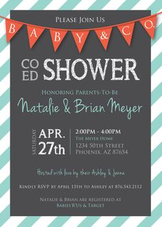 coed baby shower flags and stripes invitation aqua