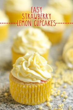 Tart and sweet, these strawberry lemon cupcakes are an Easy Spring treat! | JavaCupcake.com