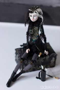 Warrior doll art doll gothic figurine archer girl by adelepo