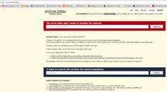 #Archive Today, en #kultjanst för att bevara wwww-sidor https://archive.today/ #internetArchive . Hittade inget rörande #Vizify https://www.vizify.com/kentlundgren/  , men från en bloggspot-blogg per 2012 http://archive.is/O36i .