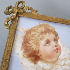 """Antique Miniature 4"""" French GILT Brass DIAMOND Shaped Frame BOW Crown Easel Back"""