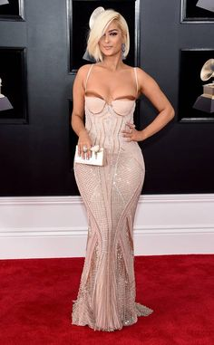 Bebe Rexha from 2018 Grammys Red Carpet Fashion  In La Perla