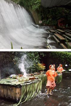 sensacional: restaurante com cachoeira artificial, que é também uma usina geotérmica | resort villa escudero | filipinas.