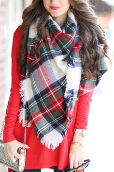 Red Scarf Outfit, Blanket Scarf Outfit, Plaid Scarf, Casual Summer Outfits, Fall Outfits, Sequin Mini Skirts, Red Scarves, Red Pants, White Plaid