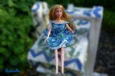 Puppenkleidung - Kleid mit 2 Stufen für Barbie *** blau-grün - ein Designerstück…