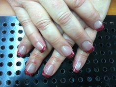 Colored french tips with pink glitter. Colored French Tips, Pink Glitter, Elegant, Nails, Beauty, Classy, Finger Nails, Ongles, Beauty Illustration