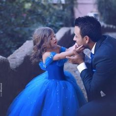Royal Blue Flower Girl Dress with T..
