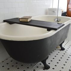Ebonized Reclaimed Wood Tub Caddy by PegandAwl on Etsy, $145.00 ............ such simple beauty in this room