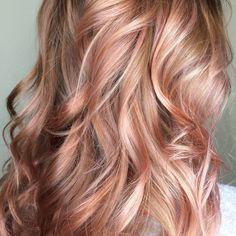 Image result for medium blonde to rose gold balayage