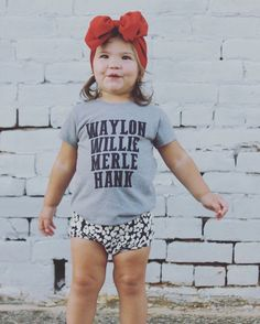Waylon Willie Merle Hank Tee - Funny Girl Shirts - Ideas of Funny Girl Shirts - Waylon Willie Merle Hank Tee Baby Girl Shirts, Shirts For Girls, Kids Shirts, Little Boy Fashion, Toddler Fashion, Kids Fashion, Baby Girl Birthday Dress, Baby Girl Party Dresses, Cute Outfits For Kids
