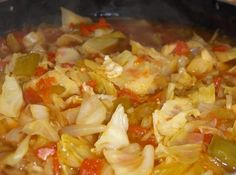 DOLLY PARTON'S CABBAGE SOUP   1 small head cabbage  3 ribs of celery  2 green peppers  1 medium onion  1 large can diced tomatoes  1 can chicken broth  water  salt and pepper to taste  Cut all vegetables into bite size pieces. Put in large soup pot with just enough water to cover and cook until the cabbage is done, about 30 minutes. **Use more or less of each vegetable.