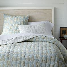 I love the Hand-Blocked Lola Quilt - Aquamarine/Ivory on westelm.com