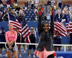 Credit: MIKE SEGAR/REUTERS Williams raises the US Open trophy.