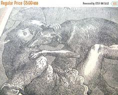 Shop Sale Antique Illustration - Antique Print - Dog Attack Illustration - Black and White Print - Antique Ephemera - Vintage Ephemera - Vic by BohemianGypsyCaravan